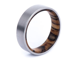 Silver Birch Wood With Titanium Ring: Natural Feel. Wedding And Engagement. For Men And Women. Custom Made.