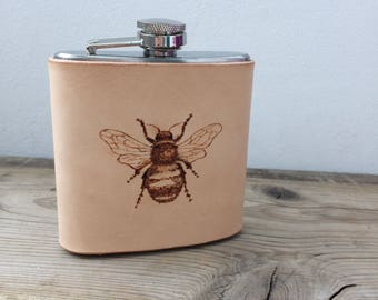 Bumble Bee Leather Hip Flask