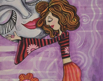 I LOVE YOU MOON, Original painting and Glicee Prints. Beautiful  Girl Art