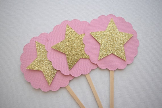 Star Cupcake Toppers Pink Gold