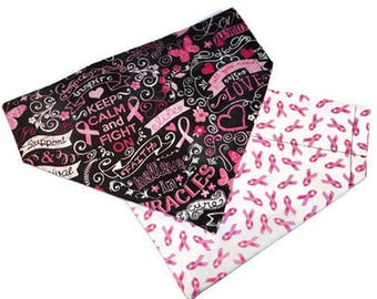 Breast Cancer Over the Collar Dog Bandana // Pink Ribbon Dog Scarf // Reversible Breast Cancer Bandanna // Breast Cancer Survivor Gift