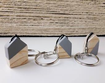 Keychain wooden house   Little wooden house keychain   Handmade   Grey