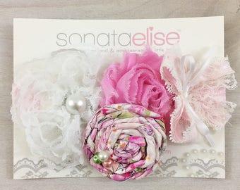 Pink & White Headband - Flower Fairy Headband - OTT Headband - Newborn Headband - Toddler Headband - Baby Headbands