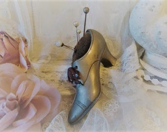 ANTIQUE pin cushion shoe with old hat pins bohemian boudoir shabby chic