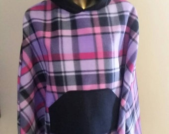 Girls 10-12 Hooded Fleece Poncho  All With Front Pocket in Plaid