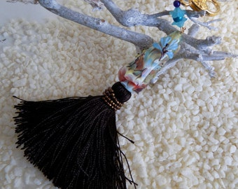 """Key ring, jewel bag, """"Focale butterfly and dragonfly"""" spun glass"""