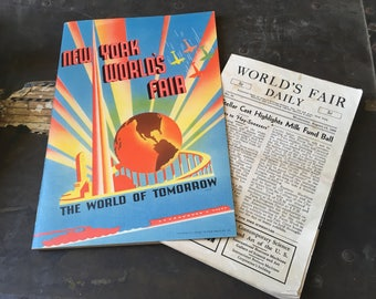 1939-40 World's Fair Book Pamphlet Brochure Souvenir and Tourist Guide with World's Fair Daily August 14th 1940 Map/Guide and News Handout