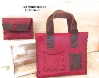 Miniature leather bag & purse - scale 1:6- dollhouse miniatures- UNIQUES ITEMS