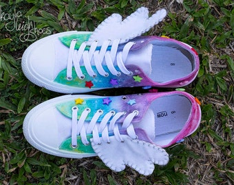 Custom Canvas Shoes - Pastel Rainbow Galaxy Unicorn ~Glow In The Dark~ Converse Style