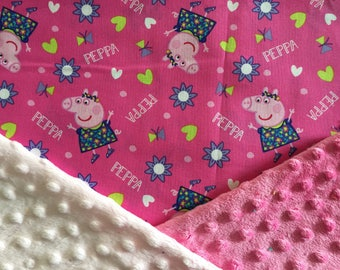 Personalized Minky Baby Blanket, Peppa Pig Minky Baby Blanket, Custom with Personalization