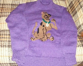 sweater purple scooby doo for children 10-12 years