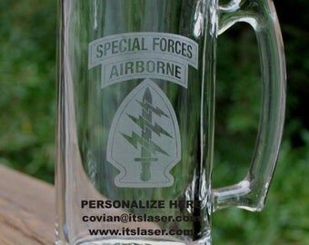 Personalized US Army Special Forces Beer Mug, Custom Military Gift, 27.25oz