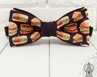 Bow tie Hamburgers, Bow tie fast food, Black bowtie, Fast Food style