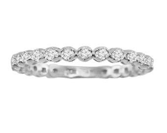 0.50ct Round Cut Diamond 14k White Gold 1/2ct Eternity Wedding Band Ring