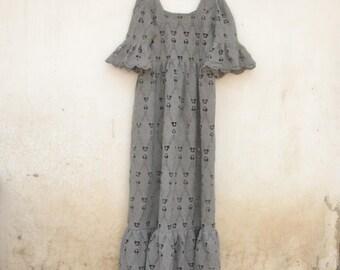 Vintage lace maxi dress, 70s, Knit lace, gray, heart, knitting dress, hippie