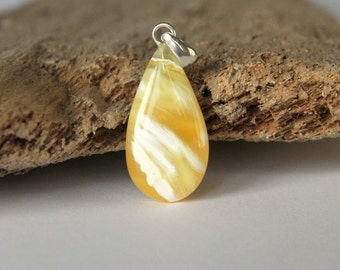 Unique amber pendant, sterling silver clasp, amber jewelry, drop amber pendant, pendants, white/yellow color amber pendant, amber jewellery