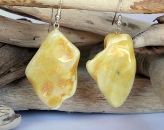 Massive yellow amber earrings, amber jewelry, pure natural shape amber earrings, amber jewellery, genuine baltic amber, dangle earrings