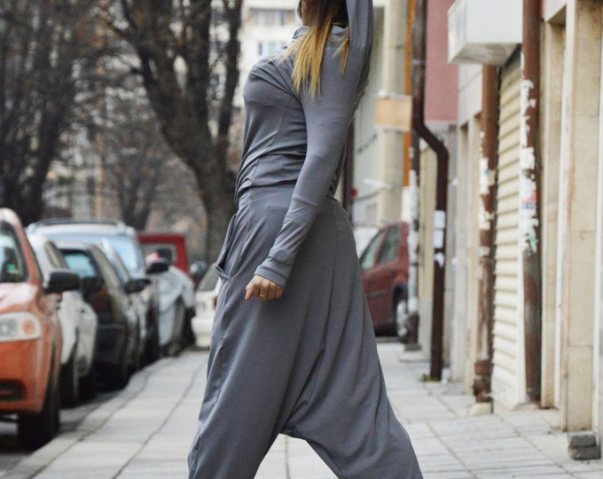 Grey Cotton Hooded Jumpsuit, Loose Casual Drop Crotch Women Jumpsuit, Extravagant Wide Leg Casual Pants by SSDfashion
