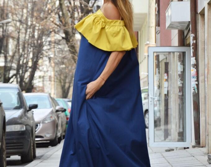 Women's Extravagant Ruffle Blue Dress, Summer Cotton Dress, Off-shoulder Maxi Dress, Loose Dress by SSDfashion