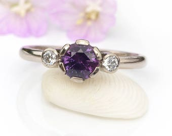 Sapphire and Diamond Engagement Ring | Deposit Listing | Choice of Gemstones
