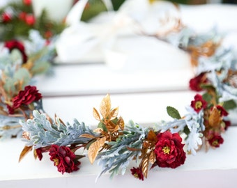 Ready to ship! Dark red gold and frosty flower crown, Bohemian headpiece, Christmas flower crown, holiday flower crown