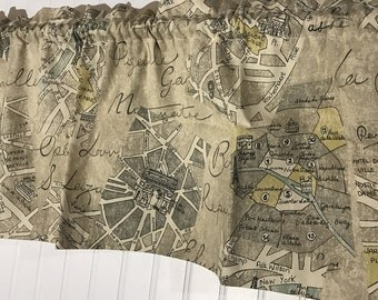 Paris streets patis map curtain valance