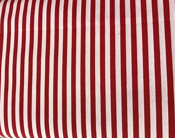 Red and white thin  striped  curtain  window valance
