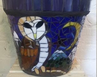Owl  mosaic pot- Pot hibou en mosaique