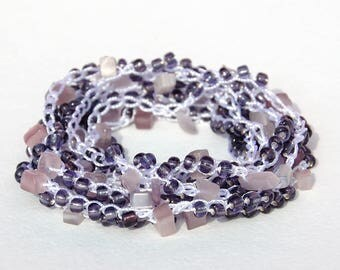 Cats Eye Stone Cats Eye bracelet Crochet bracelet Wrap bracelet Gray bracelet Yoga bracelet for her Beach bracelet for girlfriend gift ideas