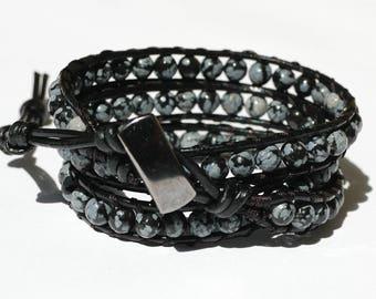 Boyfriend gift for mens bracelet gift for him Mens Leather bracelet Leather Wrap Bracelet Obsidian Bracelet Natural stone Bracelet for him