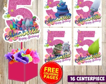 16 Trolls centerpieces, Trolls printable centerpieces, Trolls party supplies, Trolls birthday, Favors, decorations