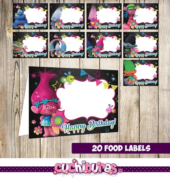 Printable Food Labels Kids Trolls