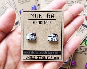 CAMERA EARRINGS RESIN - Earrings Handmade,Resin Jewelry,Stud Earrings,Camera Stud Earrings,Resin Earrings,Cute Earrings,Gifts for Her