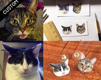 CUSTOM CAT PORTRAIT - Cat Stud Earrings Custom Pet Earrings Pet Stud Earrings Custom Earrings Resin Earrings Resin Jewelry Custom Jewelry