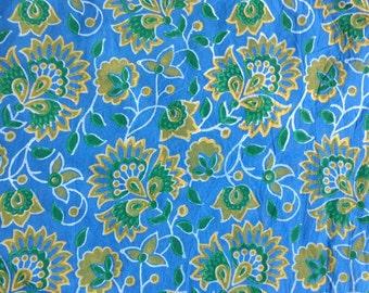 5 Yards Sky Blue Block Print Fabric, Indian Cotton Fabric, Printed Cotton Fabric, Cotton Printed Fabric, Printed Fabric, Block Print Fabric