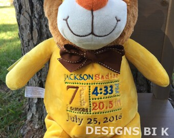 Personalized stuffed animal, Birth announcement stuffed animal, Baby Gift, Personalized gift, Gold Yellow Lion, Lion, Baby Shower gift