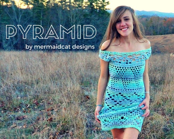 Off the shoulder crochet cocktail or casual dress pattern - pyramid