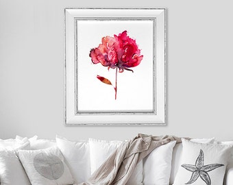 Watercolor floral print red flower painting red print watercolor painting original flowers art print red decor red wall art - 29