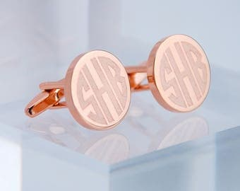 Personalised Rose Gold Monogram Cufflinks, Engraved Rose Gold Cufflinks, Monogram Cufflinks, Personalised Round Cufflinks, Wedding Cufflinks