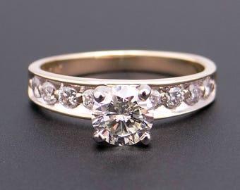 Beautiful 14k Yellow Gold .92ct Round Cut Diamond Engagement Promise Ring Size 5.25