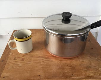 Revere Ware Cook Pot with Lid Copper Bottom Mid Century Modern