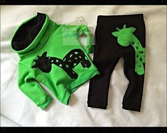 Giraffe set, tracksuit, sweatshirt and pants, funnel neck, sweater, trousers, black, green