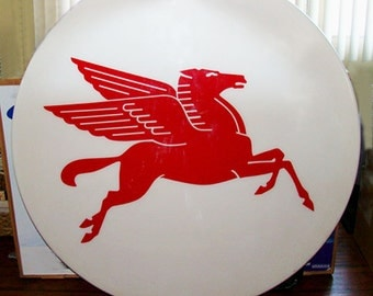 """Mobilgas PEGASUS Flying Horse Light Cover, 60"""" Mobil Oil Flying Red Horse Logo, Garage Marquee 