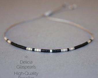 Filigree bracelet in grey - silver - black - adjustable size - thin bracelet with fine Delicia beads