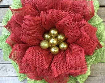 Ready to Ship! Poinsettia Wreath, Christmas Wreath, Red Poinsettia,Decorative Wreath, Holiday Wreath, Holiday Wall Wreath, Housewarming Gift