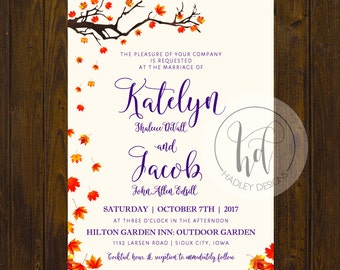 Floral Wedding Invitation, Classic Wedding Invites, Fall Wedding Invitation, Traditional Wedding Invite, Modern Wedding Invitation