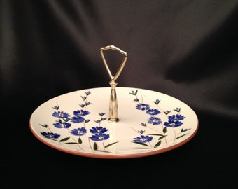 Stangl Chicory Round Serving Plate With Handle/Stangl Chicory Pattern/Stangl Pottery blue flowers