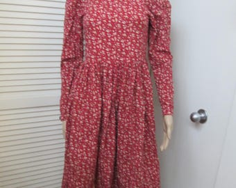 1980's Laura Ashley cotton red small floral print long puffed sleeved dress. Made in Great Britain. Masurements below Vtg Laura Ashley dress