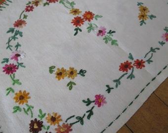 Unused Vintage Irish Linen Tea Cosy- Pretty Hand Embroidered Flowers