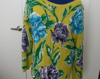 1980s Chartreuse Knit Sweater W/ Flowers.